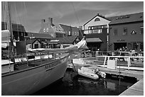 Harbor and shops. Newport, Rhode Island, USA ( black and white)