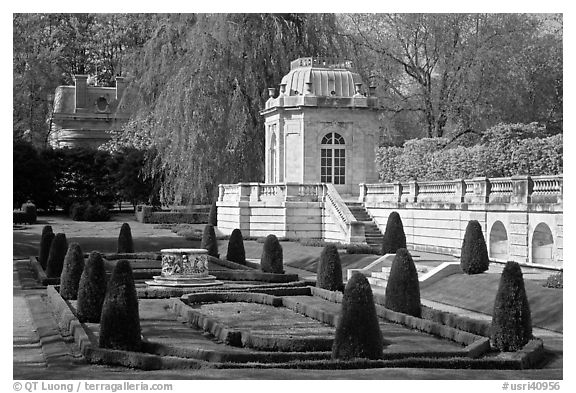 Pavilions and formal garden, The Elms. Newport, Rhode Island, USA (black and white)