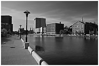 Riverside quay and walkway. Providence, Rhode Island, USA (black and white)