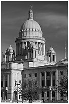 Rhode Island State House, with fourth largest marble dome in the world. Providence, Rhode Island, USA ( black and white)