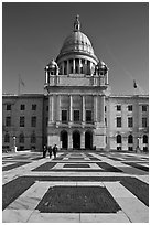 Plazza and Rhode Island State House, late afternoon. Providence, Rhode Island, USA (black and white)
