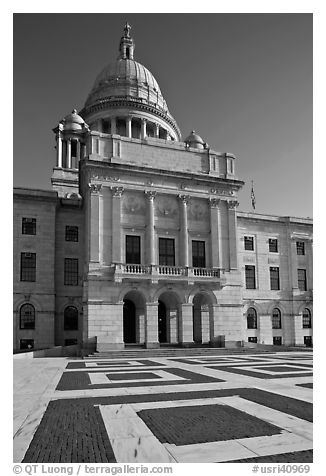 Front of Capitol of the state of Rhode Island. Providence, Rhode Island, USA (black and white)