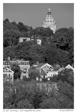 Forested hill, houses and dome. Providence, Rhode Island, USA (black and white)