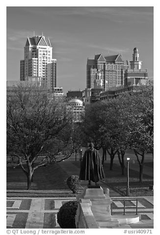 Statue of State House grounds and downtown buildings. Providence, Rhode Island, USA (black and white)