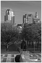 Statue of State House grounds and downtown buildings. Providence, Rhode Island, USA ( black and white)