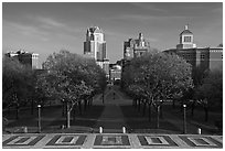 Gardens of State House and downtown high-rise buildings. Providence, Rhode Island, USA ( black and white)