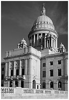 Rhode Island Capitol in neo-classical style, late afternoon. Providence, Rhode Island, USA ( black and white)