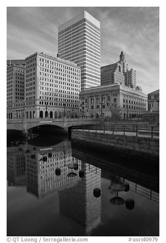 Downtown buildings reflected in Seekonk river. Providence, Rhode Island, USA (black and white)