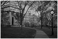 Manning Hall, University Hall, and Slater Hall  at dusk. Providence, Rhode Island, USA (black and white)
