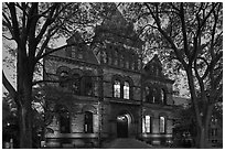 Sayles Hall framed by trees at dusk, Brown University. Providence, Rhode Island, USA ( black and white)