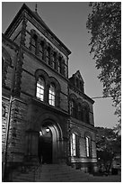 Sayles Hall (1881) at dusk, Brown University. Providence, Rhode Island, USA ( black and white)