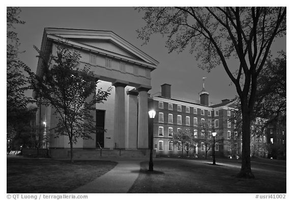 Manning Hall and  University Hall by night, Brown University. Providence, Rhode Island, USA (black and white)