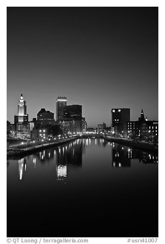Providence Skyline and Seekonk river at dusk. Providence, Rhode Island, USA (black and white)