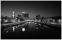 Downtown Providence reflected in Seekonk river at night. Providence, Rhode Island, USA (black and white)