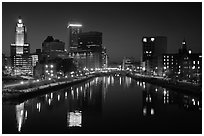 Providence Skyline at night. Providence, Rhode Island, USA (black and white)