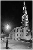 White-steppled Church and lamp at night. Providence, Rhode Island, USA (black and white)