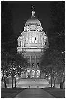 Rhode Island State House at night. Providence, Rhode Island, USA (black and white)