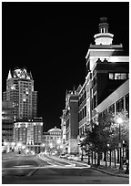 Downtown at night. Providence, Rhode Island, USA (black and white)