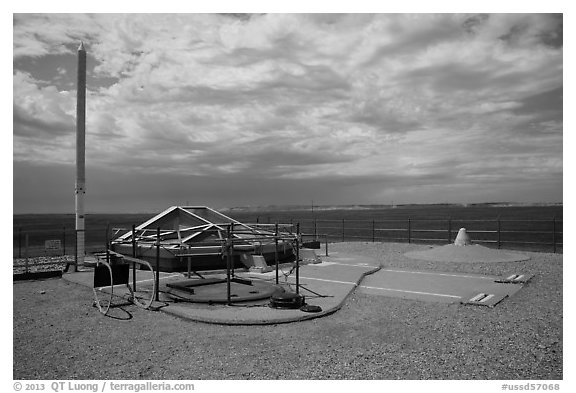 Silo above ground with glass viewing area. Minuteman Missile National Historical Site, South Dakota, USA (black and white)