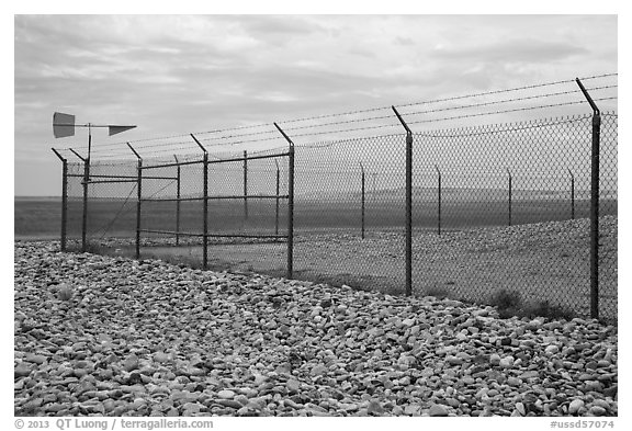 Perimeter enclosure of missile launch facility. Minuteman Missile National Historical Site, South Dakota, USA (black and white)