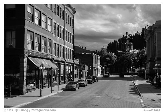 Main street, Deadwood. Black Hills, South Dakota, USA (black and white)