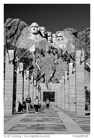 Alley of the Flags, with flags from each of the 50 US states, Mount Rushmore National Memorial. South Dakota, USA (black and white)