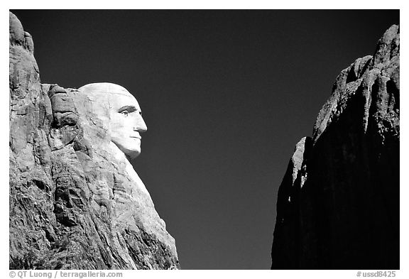 George Washington profile, Mt Rushmore National Memorial. South Dakota, USA (black and white)