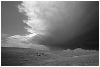 Storm cloud over prairie. South Dakota, USA (black and white)