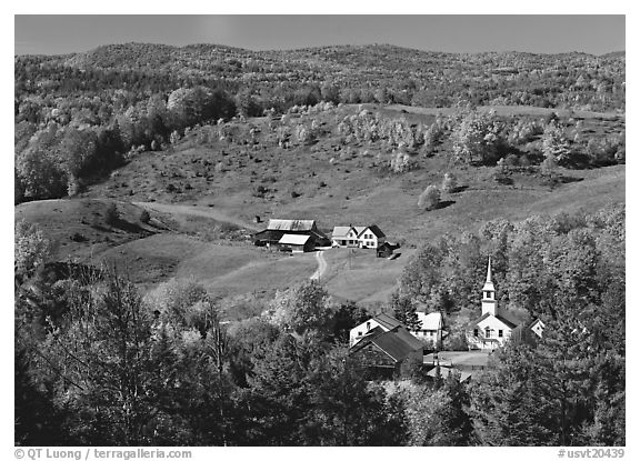 Church and farm in fall, East Corinth. Vermont, New England, USA (black and white)