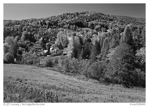 East Topsham village in the fall. Vermont, New England, USA (black and white)