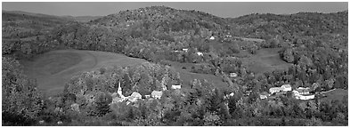 Rural autumn scenery, East Corithn. Vermont, New England, USA (Panoramic black and white)