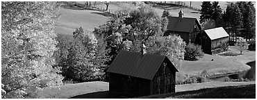 Pastoral barn scenery in autumn. Vermont, New England, USA (Panoramic black and white)