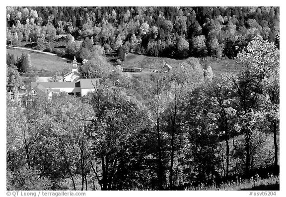 East Topsham village in autumn. Vermont, New England, USA (black and white)