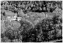 East Topsham village in autumn. Vermont, New England, USA ( black and white)