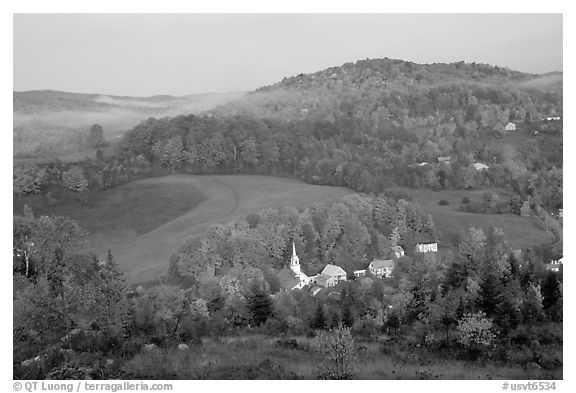 East Corinth village in fall, morning. Vermont, New England, USA (black and white)