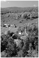 Church and farm,  East Corinth. Vermont, New England, USA ( black and white)