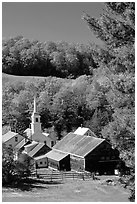 Church and barn,  East Corinth. Vermont, New England, USA (black and white)