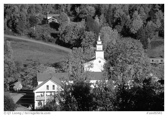 Red roofs in East Topsham village. Vermont, New England, USA (black and white)