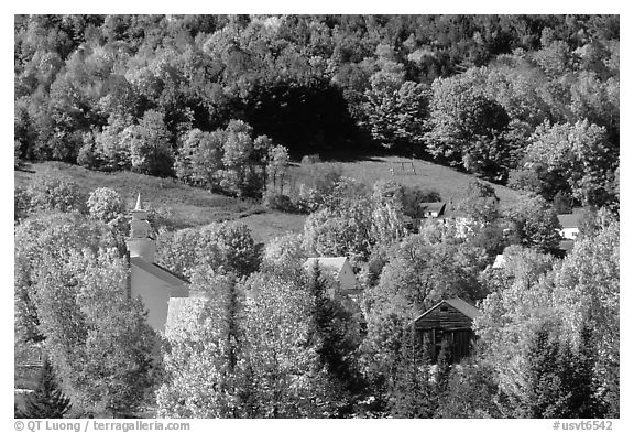 East Topsham village with autumn foliage. Vermont, New England, USA (black and white)