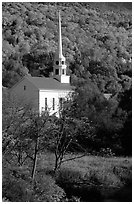 White steepled church in Stowe. Vermont, New England, USA ( black and white)
