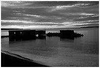 Sunset over Lake Superior, Apostle Islands National Lakeshore. Wisconsin, USA ( black and white)