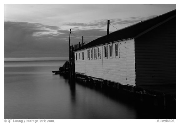 Wharf building in Lake Superior at dusk, Apostle Islands National Lakeshore. Wisconsin, USA (black and white)