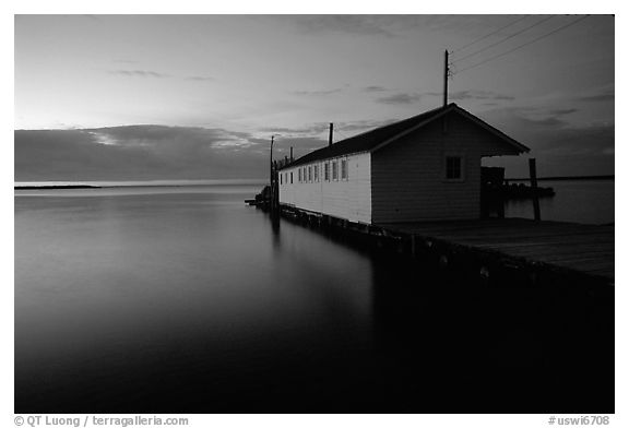 Lake Superior and wharf at dusk, Apostle Islands National Lakeshore. Wisconsin, USA (black and white)