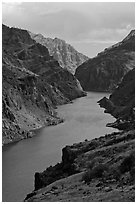 Deepest river-cut canyon in the United States. Hells Canyon National Recreation Area, Idaho and Oregon, USA ( black and white)