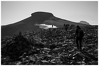 Hikers approach Table Mountain on trail, Aug 21, 2017. Jedediah Smith Wilderness,  Caribou-Targhee National Forest, Idaho, USA ( black and white)