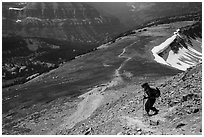 Hiker descending Table Mountain Trail. Jedediah Smith Wilderness,  Caribou-Targhee National Forest, Idaho, USA ( black and white)