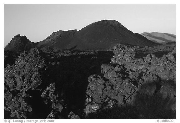 Lava and cinder cones, sunrise, Craters of the Moon National Monument. Idaho, USA (black and white)