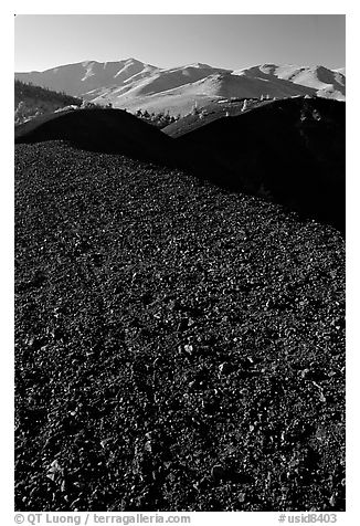 Dark pumice, Craters of the Moon National Monument. Idaho, USA (black and white)