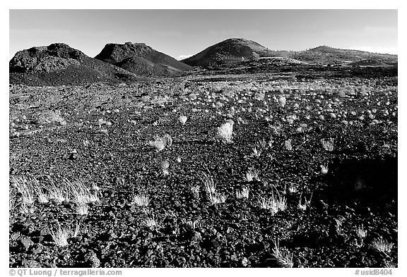 Lava field, Craters of the Moon National Monument. Idaho, USA (black and white)