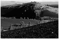 Slopes covered with hardened lava and cinder, Craters of the Moon National Monument. Idaho, USA ( black and white)